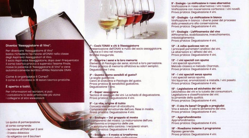corso assaggiatori di vino ortanova - onav - tenuta casa della posta - programma